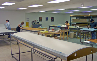 A view of the layout room.