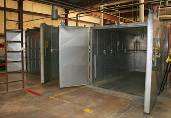 A exterior photo of the two Steelman walk in ovens at TCC.